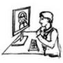 Onlinebeteiligung Person vor Bildschirm